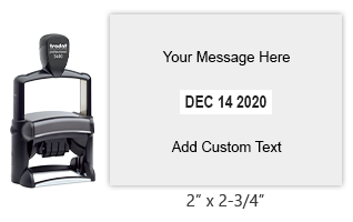 "Personalize 8 lines of text on this 2"" x 2-3/4"" self-inking date stamp. Choose from of 11 ink colors or a 2-color pad option. Orders over $25 ship free."