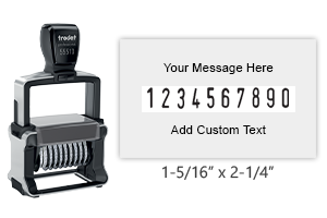 "Personalize this 10 band Trodat numberer with up to 4 lines of text. Number height is 3/16"" and custom area is 1-5/16"" x 2-1/4"". Orders over $25 ship free!"