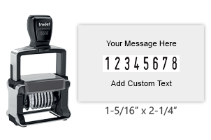 "Customize this self-inking 8 band Trodat numberer with 2 lines of text. Number size is 3/16"" and custom area is 1-5/16"" x 2-1/4"". Orders over $25 ship free!"