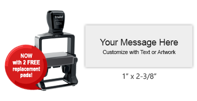 "Customize this 1"" x 2-3/8"" heavy duty stamp with up to 6 lines of text and/or a logo or artwork. Available in 11 ink colors. Ships free in 1-2 business days."