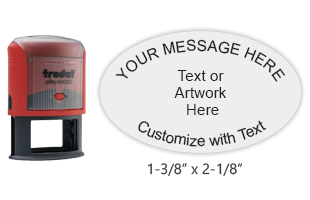 Customize this oval stamp with up to 6 lines of text or artwork and choose from 11 ink colors. No live preview available. Ships free in 1-2 business days.