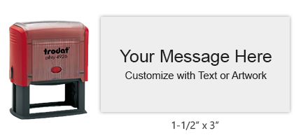 "Customize this 1-1/2"" x 3"" self-inking stamp free with up to 10 lines of text or artwork in your choice of 11 ink colors. Ships free in 1-2 business days."