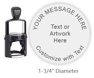 Customize this round 5 line stamp with curved text and/or a logo. Available in 11 exciting ink colors. Ships free in 1-2 business days.