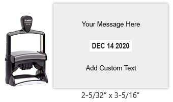 "Create a custom 2-5/32"" x 3-5/16"" self-inking date stamp with 8 lines of text. Choose from of 11 ink colors or a 2-color pad option. Orders over $25 ship free."