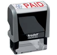 This Trodat 4912 self-inking Paid message stamp comes in a two-color, red/blue, option and delivers a crisp impression each time. Perfect for office use!