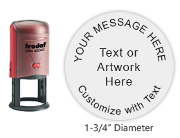 "Customize this round 1-3/4"" stamp with up to 5 lines of text, logo/artwork in a choice of 11 vibrant ink colors. Orders over $25 ship free in 1-2 business days."