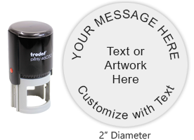 "Customize this Trodat 46050 round 2"" stamp with up to 5 lines of text, logo or artwork in your choice of 11 exciting ink colors. Ships free in 1-2 business days."