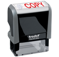 This Trodat 4912 self-inking Copy message stamp comes in a two-color, red/blue, option and delivers a crisp impression each time. Perfect for office use!