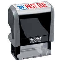 This Trodat 4912 self-inking Past Due message stamp comes in a two-color, red/blue, option and delivers a crisp impression each time. Perfect for office use!
