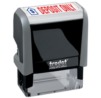 This Trodat 4912 self-inking Deposit Only message stamp comes in a two-color, red/blue, option and delivers a crisp impression each time. Perfect for office use!