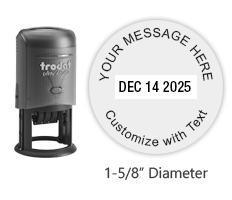 "Personalize this 1-5/8"" round self-inking date stamp with up to 4 lines of text in your choice of 11 exciting ink colors. Ships free in 1-2 business days."