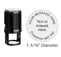 "Customize this round 1/2"" self-inking stamp with up to 1 line of text, logo or artwork in your choice of 11 vibrant ink colors. Ships free in 1-2 business days."