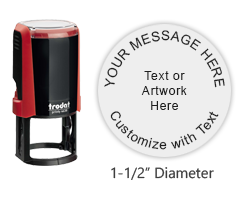 "Tailor this round 1-1/2"" self-inking stamp with up to 5 lines of text, logo or artwork in your choice of 11 bold ink colors. Free shipping over $45."