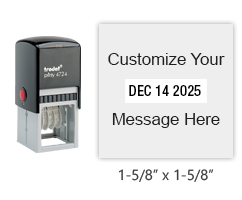 "Customize this 1-5/8"" x 1-5/8"" squared date stamp with up to 2 lines of text above and below the date in your choice of 11 ink colors. Orders over $25 ship free!"