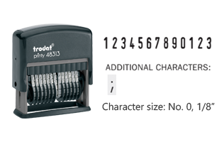 This numberer includes 13 bands with numbers 0-9 on each band and a additional special character (;). Refillable and durable. Ships free in 1-2 business days!
