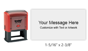 "Customize this 1-5/16"" x 2-3/8"" stamp free with up to 8 lines of text or your logo/artwork. Available in 11 exciting ink colors. Ships free in 1-2 business days."