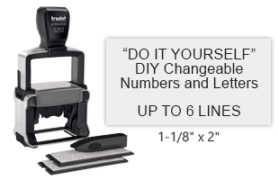"The TYPO stamp set includes 2 letter sets, 5/32"" and 1/8"" character height, and the self-inking heavy duty 5253 stamp. 1-1/8"" x 2"" and up to 6 lines of text."