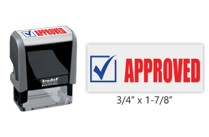 This Trodat 4912 self-inking Approved message stamp comes in a two-color, red/blue, option and delivers a crisp impression each time. Perfect for office use!