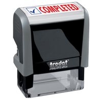 This Trodat 4912 self-inking Completed message stamp comes in a two-color, red/blue, option and delivers a crisp impression each time. Perfect for office use!