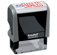 This Trodat 4912 self-inking Emailed message stamp comes in a two-color, red/blue, option and delivers a crisp impression each time. Perfect for office use!