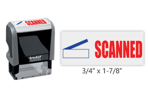 This Trodat 4912 self-inking Scanned message stamp comes in a two-color, red/blue, option and delivers a crisp impression each time. Perfect for office use!