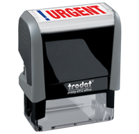 This Trodat 4912 self-inking Urgent message stamp comes in a two-color, red/blue, option and delivers a crisp impression each time. Perfect for office use!
