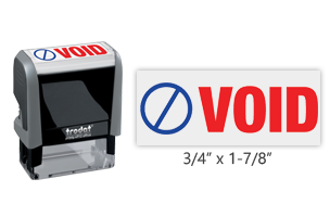 This Trodat 4912 self-inking Void message stamp comes in a two-color, red/blue, option and delivers a crisp impression each time. Perfect for office use!