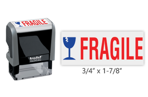 This Trodat 4912 self-inking Fragile message stamp comes in a two-color, red/blue, option and delivers a crisp impression each time. Perfect for office use!
