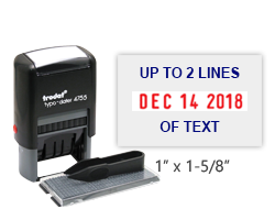 "Personalize this 1"" x 1-5/8"" date stamp with up to 2 lines of text using the included letter set. Changeable message and refillable. Orders over $45 ship free!"