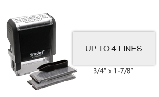 "The TYPO stamp set includes 2 letter sets, 1/8"" and 5/32"" character heights, and the self-inking 4912 stamp. Impression area: 3/4"" x 1-7/8"" and 4 lines of text."