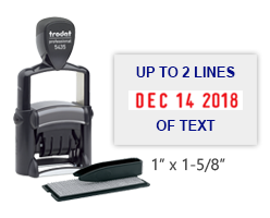 "The TYPO stamp set includes 1 letter set, 5/32"" character height, and the self-inking heavy duty 5435 stamp. 1"" x 1-5/8"" with date and up to 2 lines of text."