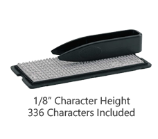 """This character set is built to fit all TYPO stamp models and offers 336 characters at a 1/8"""" height. Letters, symbols and graphic options included in the set."""