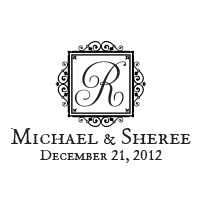 Display your wedding names, date, and vintage gilded surname initial on this stamp in one of 11 stunning ink colors! Shop now and get free shipping over $45.