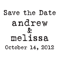 Make a typewriter style Save the Date wedding stamp by adding your names and date and a choice of 11 different ink colors! Orders over $15 ship free.