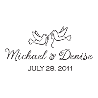 Two doves top this wedding stamp that can be personalized with your names and date in your choice of 11 ink colors! Shop now and get free shipping over $15.