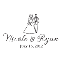 Display your wedding names and date beneath this lovely design of a bride and groom in your choice of 11 ink colors! Shop now and get free shipping over $15.