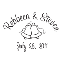 Add a lovely touch to your customizable wedding name and date stamp with this wedding bell design in one of 11 ink colors! Orders over $15 ship free.