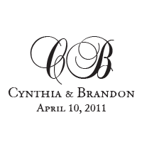 This curly elegant script monogram stamp can be customized with your wedding names, initials, and date in one of 11 ink colors! Orders over $15 ship free.