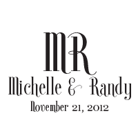 This wedding stamp comes in one of 11 ink colors and is comprised of your names, initials, and date in a tall elegant font! Orders over $15 ship free.