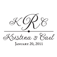 Personalize this script font wedding stamp with your initials, names, and date and choose one of 11 ink colors! Shop now and get free shipping over $45.