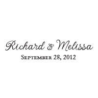 Personalize this wedding stamp with your script font names and date in your choice of 11 ink colors! Shop now and get free shipping over $45.