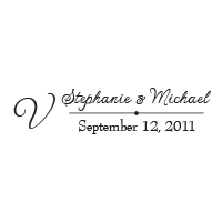 This stamp lays out your custom wedding names, surname initial, and date in a thin script font and in one of 11 ink colors! Orders over $45 ship free.