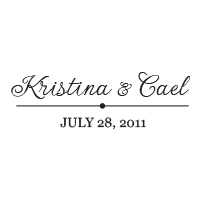 A thin decorative line divides your custom wedding names from the date in this stamp which comes in one of 11 ink colors! Orders over $15 ship free.