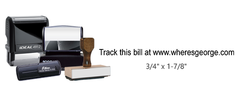 This stock track this bill with web address Where's George stamp is available in 4 stamp options and 11 ink colors. Great for stamping and tracking bills.