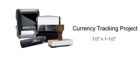 This stock Where's George Currency Tracking Project stamp comes in 4 stamp options and 11 ink colors. Great for stamping/tracking bills. Free shipping over $45!