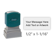 "Customize this 1/2"" x 1-1/16"" stamp with 2 lines of text or artwork in your choice of 11 ink colors. Ideal for general message or address stamps. Ships free in 2-3 business days."