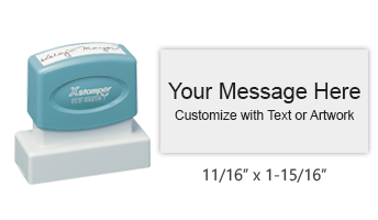 "Customize this 11/16"" x 1-15/16"" stamp with 4 lines of text or artwork in your choice of 11 ink colors. Great for logos! Ships free in 4-5 business days."