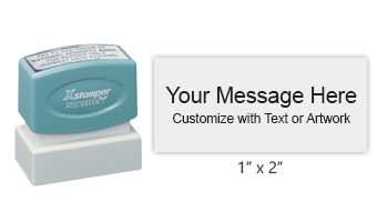"Customize this premium quality 1"" x 2"" stamp with up to 5 lines of text or artwork in your choice of 11 vibrant ink colors. Ships free in 4-5 business days."