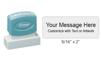 "Customize this premium quality 9/16"" x 2"" stamp with up to 3 lines of text or artwork in your choice of 11 exciting ink colors. Ships free in 4-5 business days."