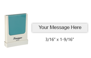 "Customize this 3/16"" x 1-9/16"" stamp with up to 1 line of text in your choice of 11 ink colors. Great for emails, URL's and more. Ships free in 4-5 business days."